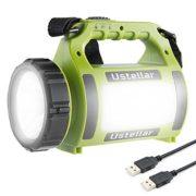 Ustellar-Lampe-Torche-LED-Rechargeable-Etanche-CREE-LED-3-en-1-Puissante-Lampe-Projecteur-Portable-Lanterne-Torche-Batterie-Externe-Cble-USB-Inclus-Pour-Randonne-Camping-0
