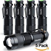 ilauke-5PCS-Lampe-Torche-de-Poche--LED-CREE-dintensit-Ajustable-avec-Clip-7W-350Lumen-Super-LumineuseNoir-lot-de-5-0