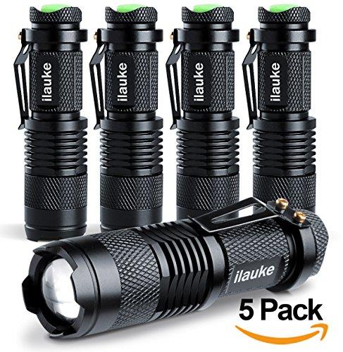 ilauke-5PCS-Lampe-Torche-de-Poche–LED-CREE-dintensit-Ajustable-avec-Clip-7W-350Lumen-Super-LumineuseNoir-lot-de-5-0