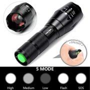 Mikafen-Lampe-de-poche-5-modeslampe-torche-led-puissanteLumen-lev-Zoomable-Lumire-de-poche-Idal-pour-le-camping-la-randonne-la-marche-de-chien-Lot-de-2Noir-0-0