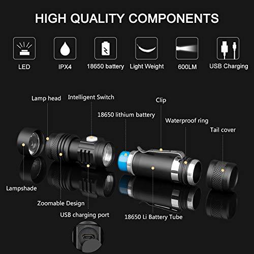 Modes Rechargeable Lampe UsbCoquimbo Étanche4 EclairageZoomable Led 600 Poche Torche Pour MénageLe De LumensIp65 ALcq3Rj54