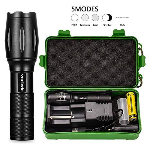 Vockvic-Lampe-Torche-LED-Ultra-Puissante-CREE-1200-Lumen-Rechargeable-Lampe-de-Poche-Militaire-Zoomable-5-Modes-dclairage-Etanche-Torche18650-Pile-Rechargeable-et-Chargeur-USB-Inclus-0