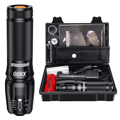 Shadowhawk-X800-Lampe-de-poche-LED-CREE-ultra-lumineuse-4000-lumens-lampe-de-poche-tactique-rechargeable-avec-zoom-pour-le-camping-la-randonne-et-les-urgences-avec-batterie-5000-mAh-26650-0