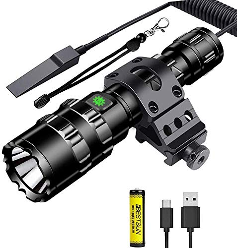 Torche-tactique-lampe-de-poche-LED-super-brillante-de-1500-lumens-torches-rechargeables–5-modes-avec-support-dcal-Picatinny-et-pressostat-cble-USB-batterie-rechargeable-incluse-0