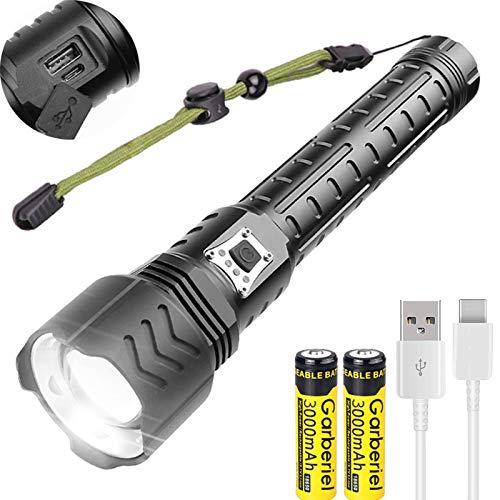 WholeFire-XHP90-Lampe-de-Poche-LED-Ultra-Puissante-12000-lumens-5-Modes-Rechargeable-par-USB-Super-Lumineuse-Lampe-Torche-avec-Zoom-pour-Camping-Sport-en-Plein-Air-Piles-Incluses-0